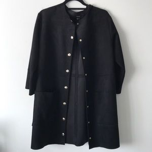Black Suede A-line Jacket